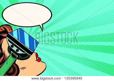 Retro girl with glasses virtual reality pop art retro vector. Woman using virtual reality headset. Girl playing or watching a movie