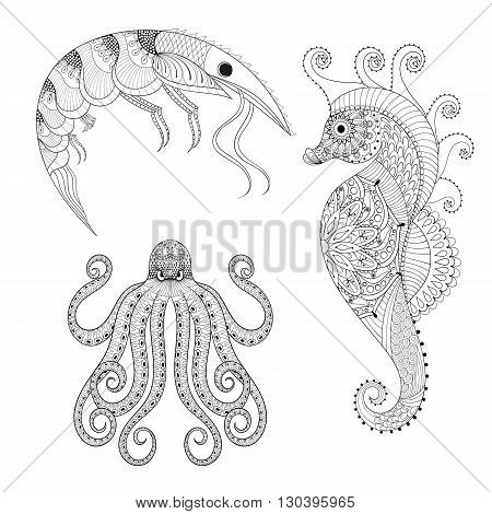 Hand drawn zentangle Shrimp, Sea Horse, Octopus for adult anti stress coloring pages, post card, mehendi t-shirt print,  logo icon. Sea animals illustration in doodle, boho style, henna tattoo design.