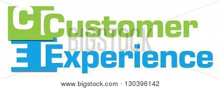 Customer experience text alphabets written over green blue background.