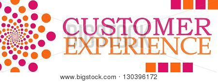 Customer experience text alphabets written over pink orange background.