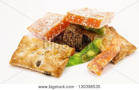 Sweets gray background Turkish Delight with cookies