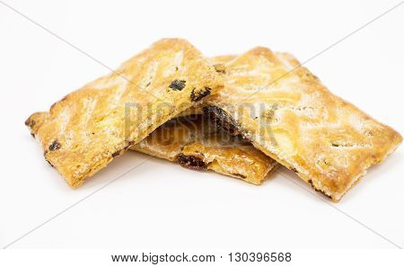 cookies with raisins on a gray background