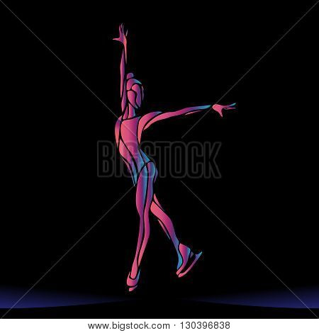 Winter sport. Ladies figure skating silhouette on black background.  Ice show. Vector illustration