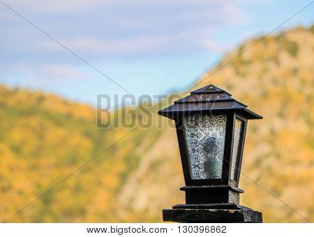 wood lamp & mountain  in kanchanaburi thailand