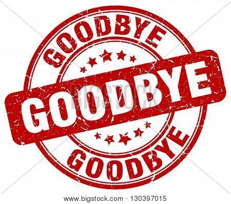 goodbye red grunge round vintage rubber stamp