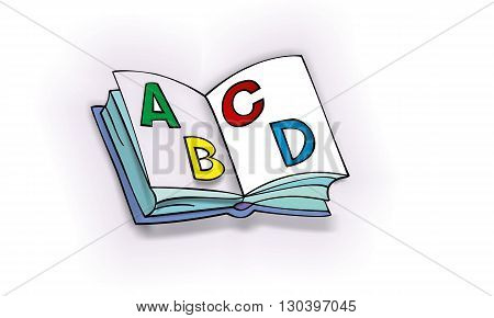 Open ABC book for children with colorful letters