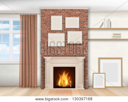 Interior living room with fireplace and window. Realistic vector illustration.