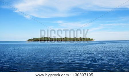 View of a flat Island from the Andaman Water Sports Complex, Port Blair, India.