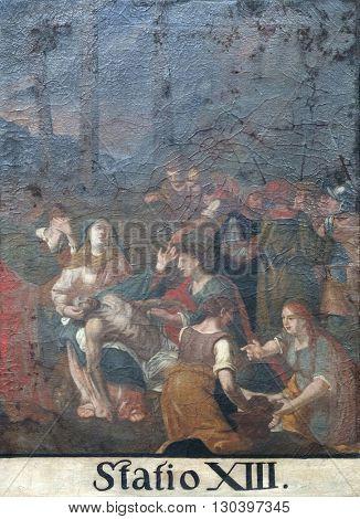 KOTARI, CROATIA - SEPTEMBER 16: 13th Stations of the Cross, Jesus' body is removed from the cross, Church of Saint Leonard of Noblac in Kotari, Croatia on September 16, 2015.
