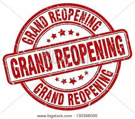 grand reopening red grunge round vintage rubber stamp
