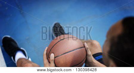 Basketball Man Sports Rest Sitting Concept