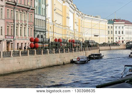 St. Petersburg, Russia - 9 May, Military vehicles on the waterfront in anticipation of the parade, 9 May, 2016. Festive military parade on the Palace Square in St. Petersburg.