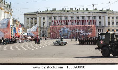 St. Petersburg, Russia - 9 May, Check in-chief for the parade, 9 May, 2016. Festive military parade on the Palace Square in St. Petersburg.