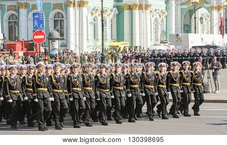 St. Petersburg, Russia - 9 May, Division officers in black uniforms, 9 May, 2016. Festive military parade on the Palace Square in St. Petersburg.