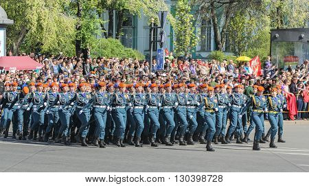 St. Petersburg, Russia - 9 May, Division Military Women rescuers, 9 May, 2016. Festive military parade on the Palace Square in St. Petersburg.