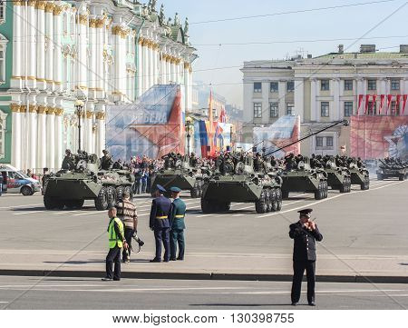 St. Petersburg, Russia - 9 May, Division infantry armored vehicles on the Victory Parade, 9 May, 2016. Festive military parade on the Palace Square in St. Petersburg.