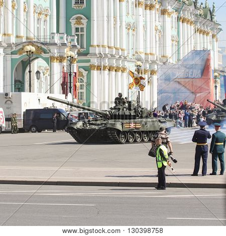 St. Petersburg, Russia - 9 May, The tank in front of the Winter Palace, 9 May, 2016. Festive military parade on the Palace Square in St. Petersburg.