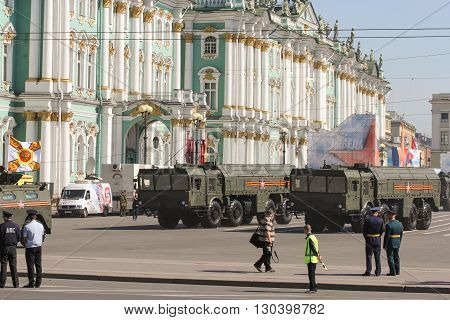 St. Petersburg, Russia - 9 May, Military vehicles strategic purpose, 9 May, 2016. Festive military parade on the Palace Square in St. Petersburg.