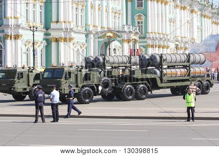 St. Petersburg, Russia - 9 May, Military rocket launchers of strategic purpose, 9 May, 2016. Festive military parade on the Palace Square in St. Petersburg.