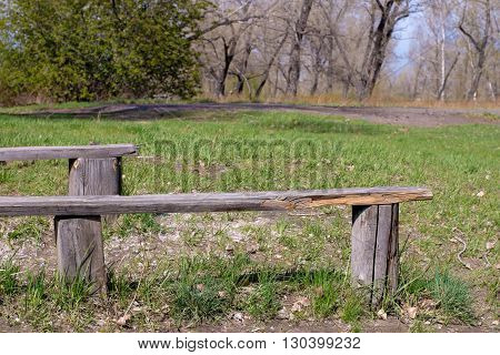Empty sun-bleached old wooden bench in a spring park
