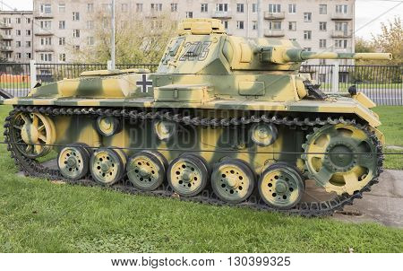 Moscow Russia- October 72015: Medium Tank T-3 (Pz.Kpfw.3 Ausf.L) Germany 1935 in the Central Museum of the Great Patriotic War