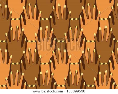 Hands silhouette seamless pattern. Stylish trend design for surface