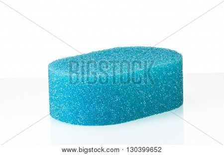 Blue cleaning sponge with on white background