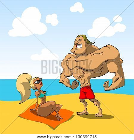 Muscular guy on the beach trying to seduce a hot looking girl. Macho man.