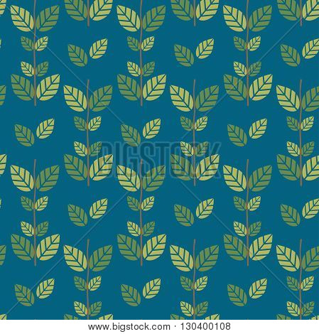 Seamless green leaves pattern background editable color background