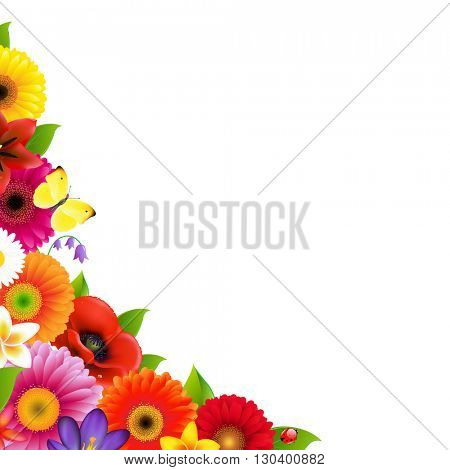 Flowers Frame, With Gradient Mesh, Vector Illustration
