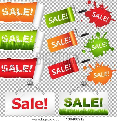 Sale Elements Set, Isolated on Transparent Background, With Gradient Mesh, Vector Illustration
