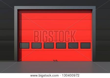 Red garage door or industrial door 3D rendering