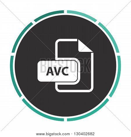 AVC Simple flat white vector pictogram on black circle. Illustration icon