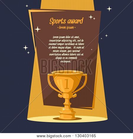 Vector illustration of Cup Sports awards in cartoon style next to a text. Illustration for advertising posters announcements.