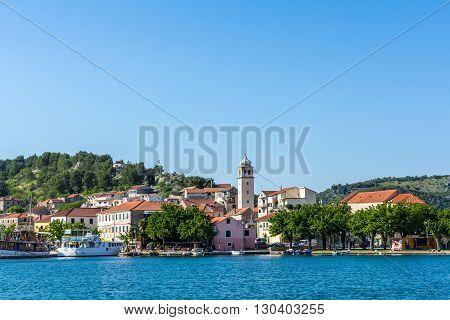 Skradin Croatia - May 05 2016: village Skradin on Krka river