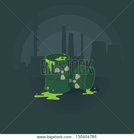 barrels of toxic substances. Pollution of the environment radiation. Vector illustration background.