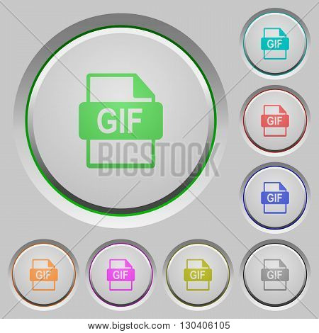 Set of color GIF file format sunk push buttons.
