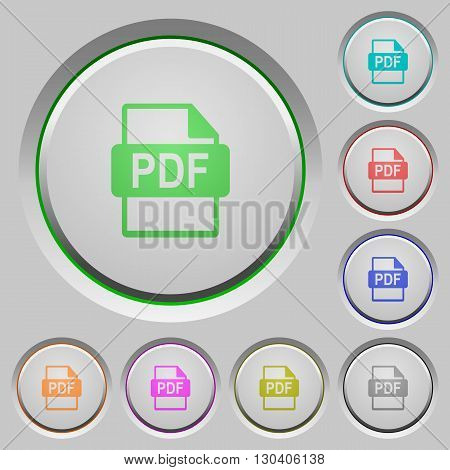 Set of color PDF file format sunk push buttons.