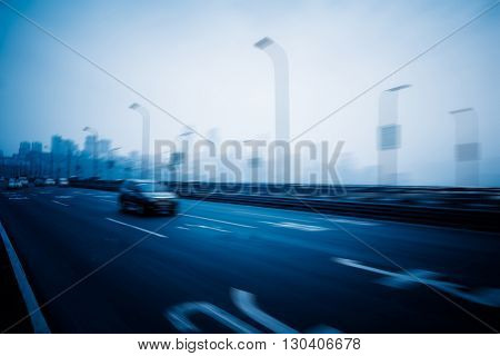 traffic through city, cityscape of china.