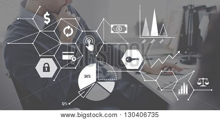 Relate Global Connecting Economy Statistic Link Concept