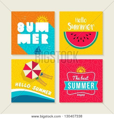 Summer Card Or Label Set With Happy Beach Elements