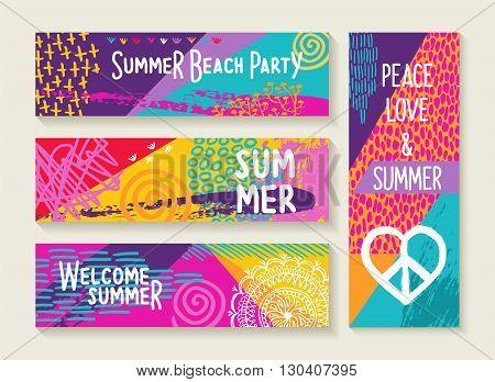 Summer Party Design Set In Vibrant Colors Palette
