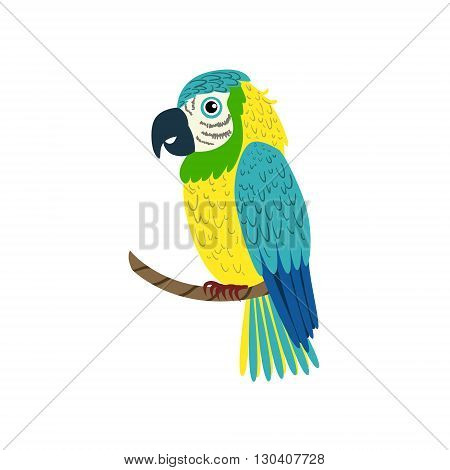 Blue Macaw Parrot Flat Isolated Colorful Vector Design Illustration On White Background