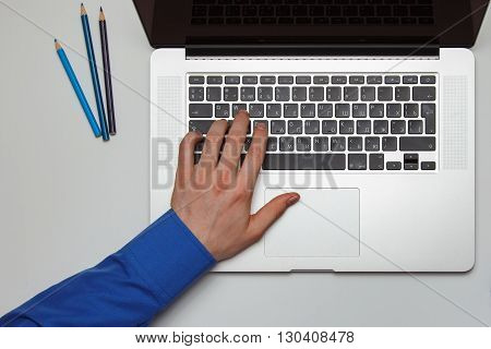Businessman Working On His Laptop. Top View