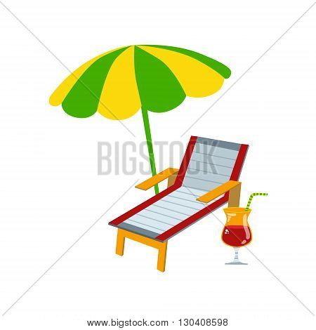 Sunbead With Umbrella And Cocktail Flat Isolated Colorful Vector Design Illustration On White Background