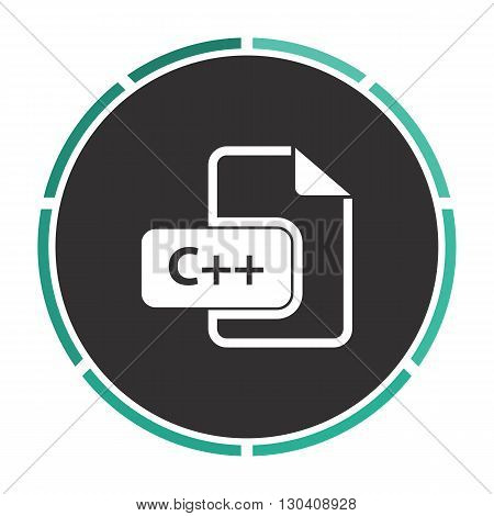 C plus Simple flat white vector pictogram on black circle. Illustration icon