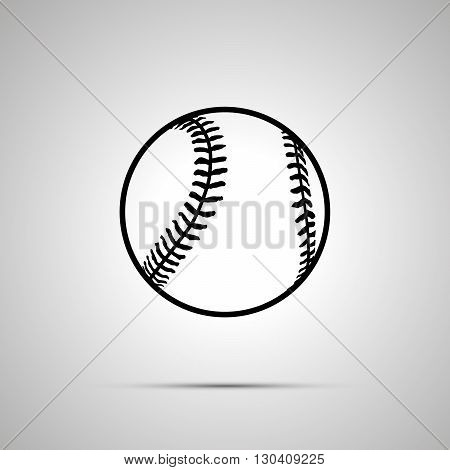 Baseball ball simple black icon with shadow