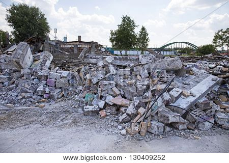 Buildings demolished by corrupt government in Belgrade,Serbia