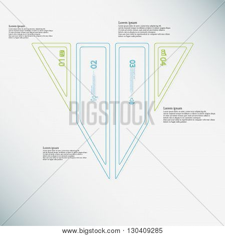 Illustration infographic template with motif of triangle. Triangle divided to four color parts. Each part created by double outline contour. Each part contains number text and simple sign.