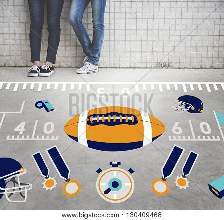 American Football Team Field Yard Pumped Sports Concept